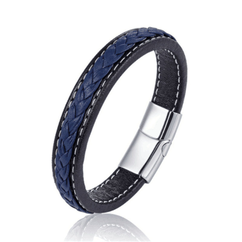 Classic 19,21,23cm Size Choose Genuine Leather Stainless Steel Magnetic Buckle Men Women Leather Bracelet Fashion Charm Bracelet