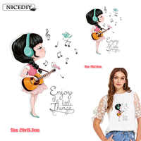 Nicediy Cute Girl Patch Heat Transfer Iron On Patch A-level Washable Clothes Stickers Easy Print By Household Irons Applique DIY