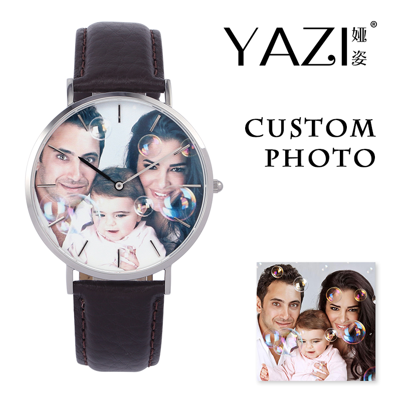 YAZI Personal Custom Photo Watch Bar Scale Wrist Watch For Men And Women Litchi Stripe Genuine Leather Quartz Watches Waterproof