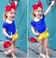 NTYSX kids 2016 Baby girl's clothing sets Girls suit set child 3 pieces Snow White princess Blue shirts+shorts+headband 16086