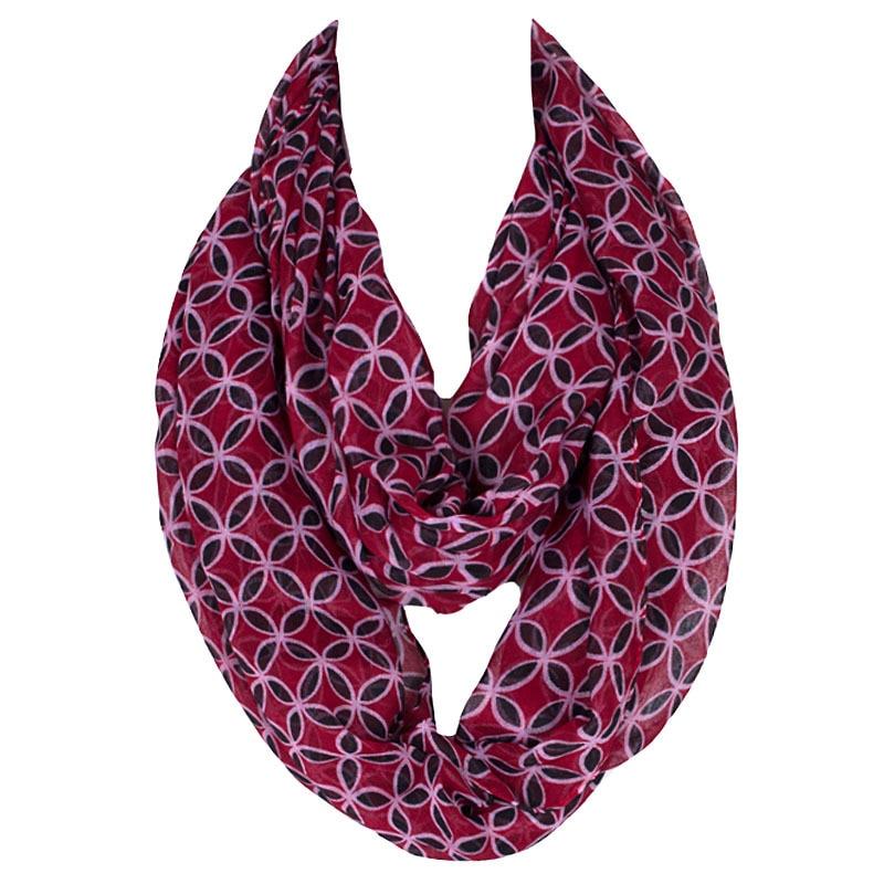 2019 Fashion Women Ring Pop Colour Femme Flowers Print Polyester Infinity Scarves Snood Hotsale Wholesale Voile Echarpe Cape