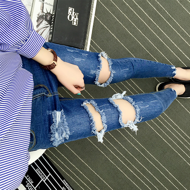 2017 Stretch ripped Jeans Women Skinny High Waist boyfriend Jeans for Women Autumn Femme Plus Size denim Trousers Women's Pants women high waist jeans plus size dark women skinny ripped jeans femme jeggings sexy pantalones tejanos mujer boot cut jeans