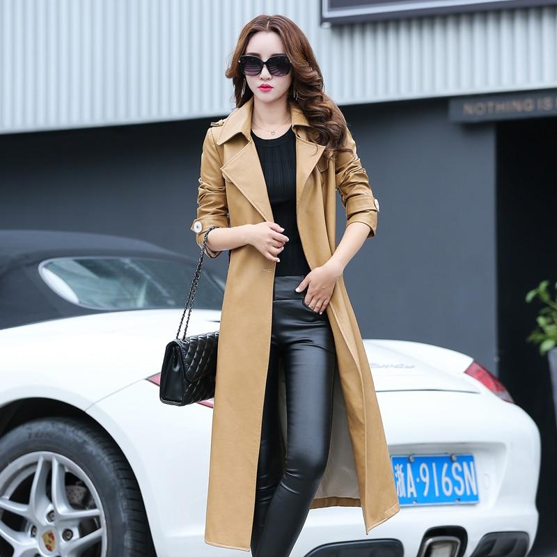 Leather   Jacket Hot Sale Chaquetas De Cuero Mujer 2016 Korean Women's New Pu   Leather   Temperament Long Coat Windbreaker Slim Was
