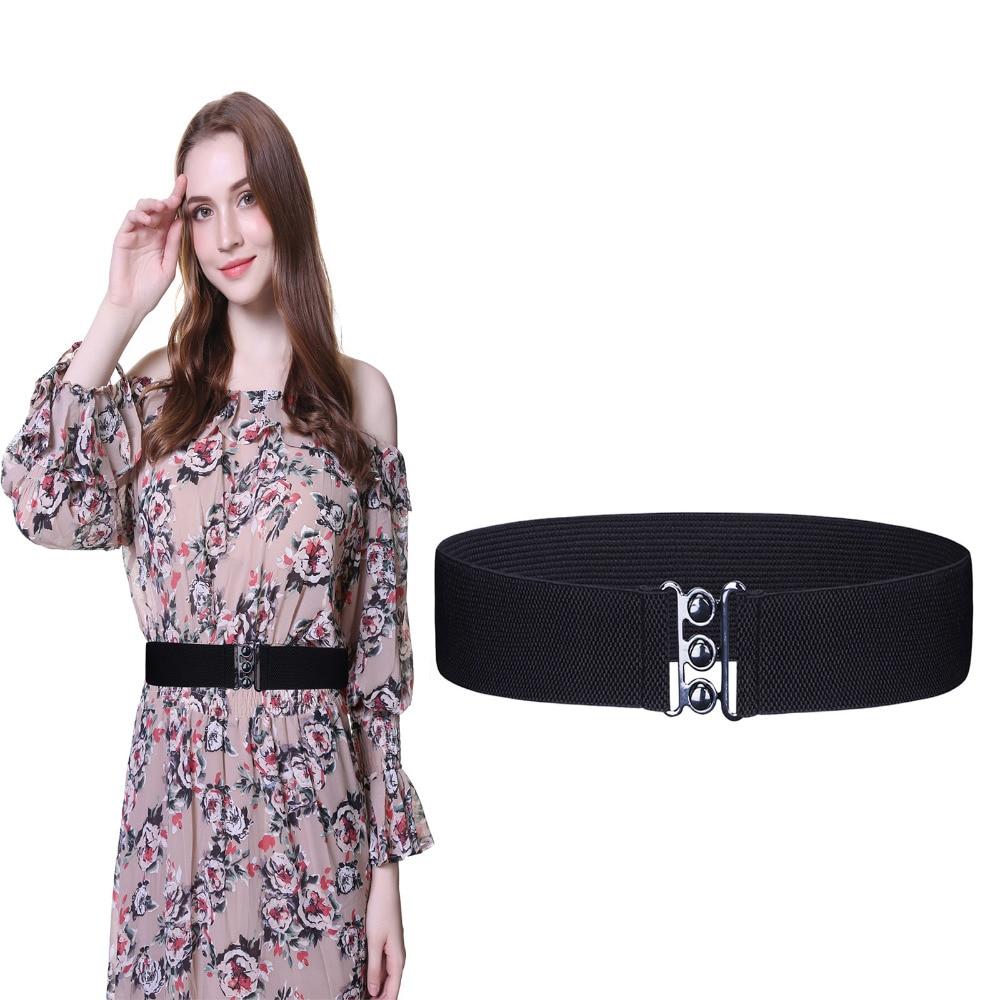 Women Wide Buckle Elastic Waist Belt Stretchy Cinch Waistband Corset For Dress