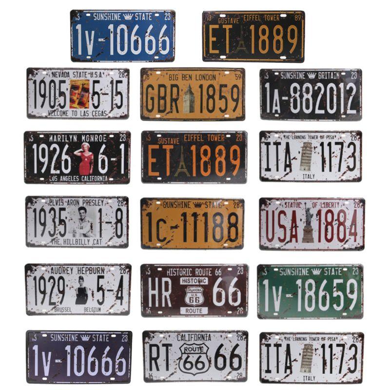 2019 New Popular Fashion 1 Pc Craft Art Vintage Decoration Retro Wall Decor 15.3*30.5cm Metal License Plate Car Protection