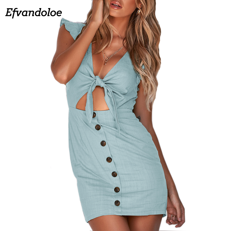 Efvandoloe Cotton and Linen Summer Dress <font><b>Sexy</b></font> Beach V Neck Solid Mini Women Dresses <font><b>Vestidos</b></font> <font><b>Verano</b></font> <font><b>2018</b></font> image