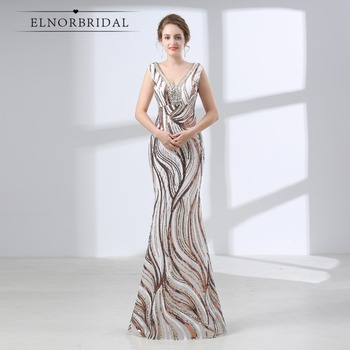 Elnorbridal Mermaid Prom Dresses 2020 Galajurk Robe De Soiree Longue Lace Sequins Formal Dress Women Evening Gowns