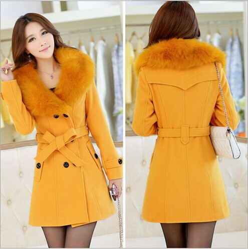 2015 winter women's Double Breasted big fur collar Plus Size Wool Coat long Winter Jackets parka coats Outerwear good quality - Whats Apparel store