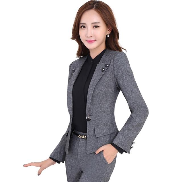 ee11d001113 Professional female long-sleeve suit pants fashion slim business ladies  office wear trouser suits plus