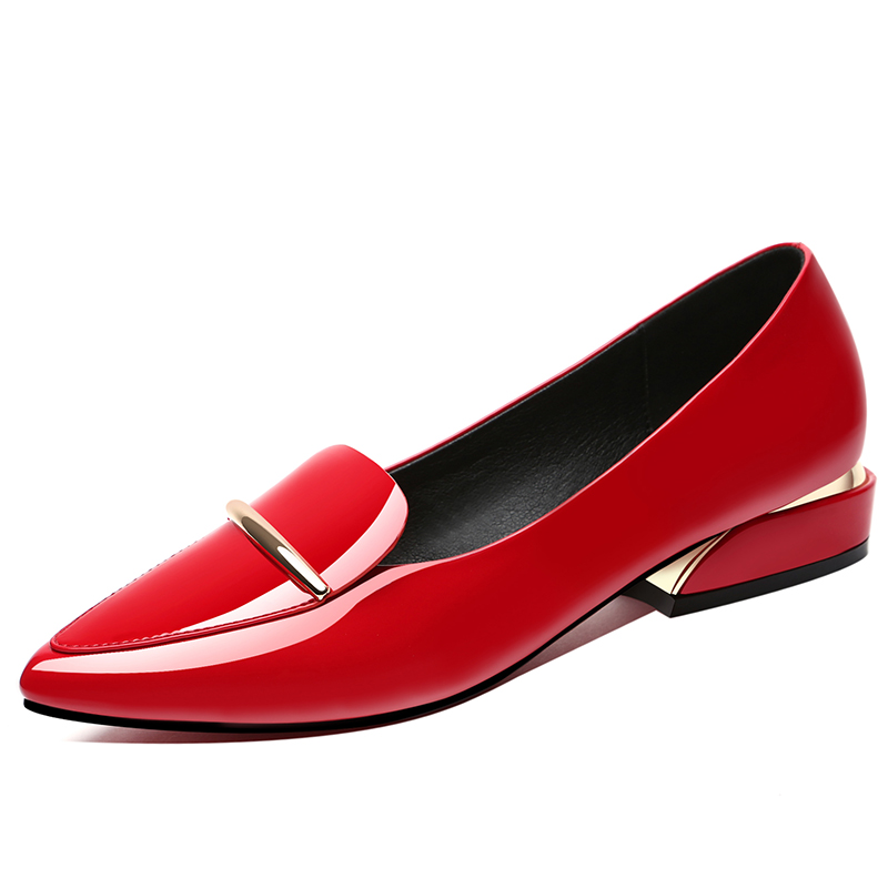 ef1a7a0781 Guciheaven Women Shallow Pumps Office Pointed Toe Slip-On Dress Shoes Low  Heels 2.8cm Mirror Surface Patent Leather Red Sole
