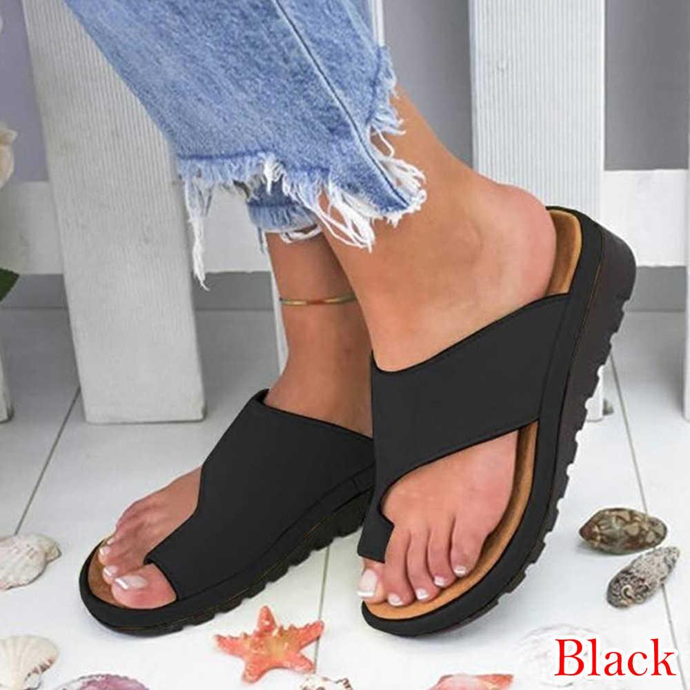 2dd662cb40 ... Women PU Leather Shoes Comfy Platform Sandals Flat Sole Ladies Soft Big  Toe Foot Correction Sandal ...