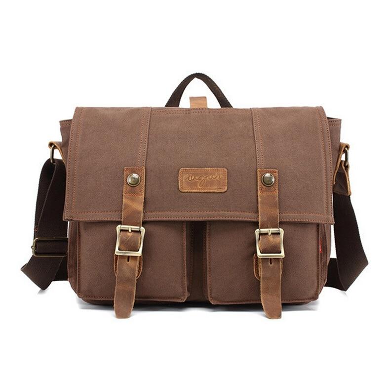 Men Vintage Canvas messenger bag crazy horse leather soft man travel bags retro bag hasp cover military style handbag   LJ-0495  цена и фото