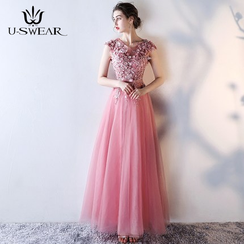 U-SWEAR Sexy O-Neck Sleeveless Backless Lace Applique Slim Long   Evening     Dresses   Party Prom Formal Gowns Vestidos Robe De Soiree