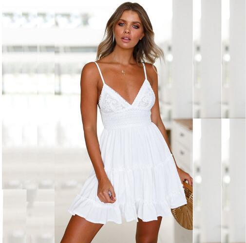 Sling Robe 2018 De Mode Femmes de Vêtements Solide Couleur Élégante Sexy Profonde V Fuite Retour Croix Femmes Robes