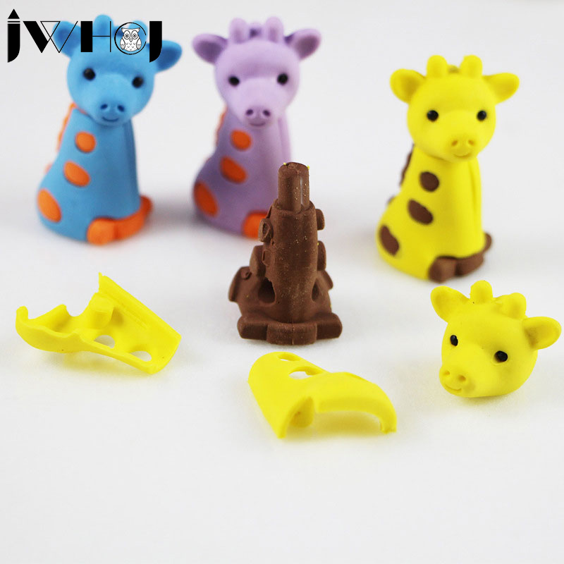 2 Pcs/lot  Cute Cartoon Giraffe Eraser Kawaii Stationery School Office Supplies Correction Supplies Child's Toy Gifts