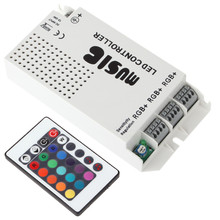 Light Controller Light Strip Controller RGB LED spotlight Controller 12-24V 3 Way-output Wireless Music LED IR Remote Controller