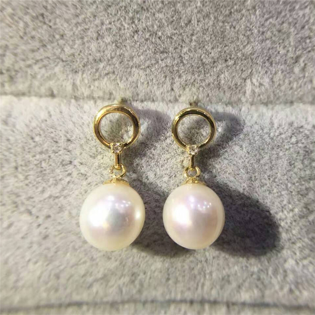 LASAMERO Round Natural Akoya Fresh Water Pearl 18K Rose Gold Solitaire Stud Earrings Gemstone White Pearl Earrings Studs