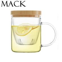 MACK Kurze Licht-minded Doppelwandigen Glasbecher HBG Tee-becher Mit holz Deckel Eine Löffel Geschenk Hohe Wärme Unterschied Mlik Tassen MCG008