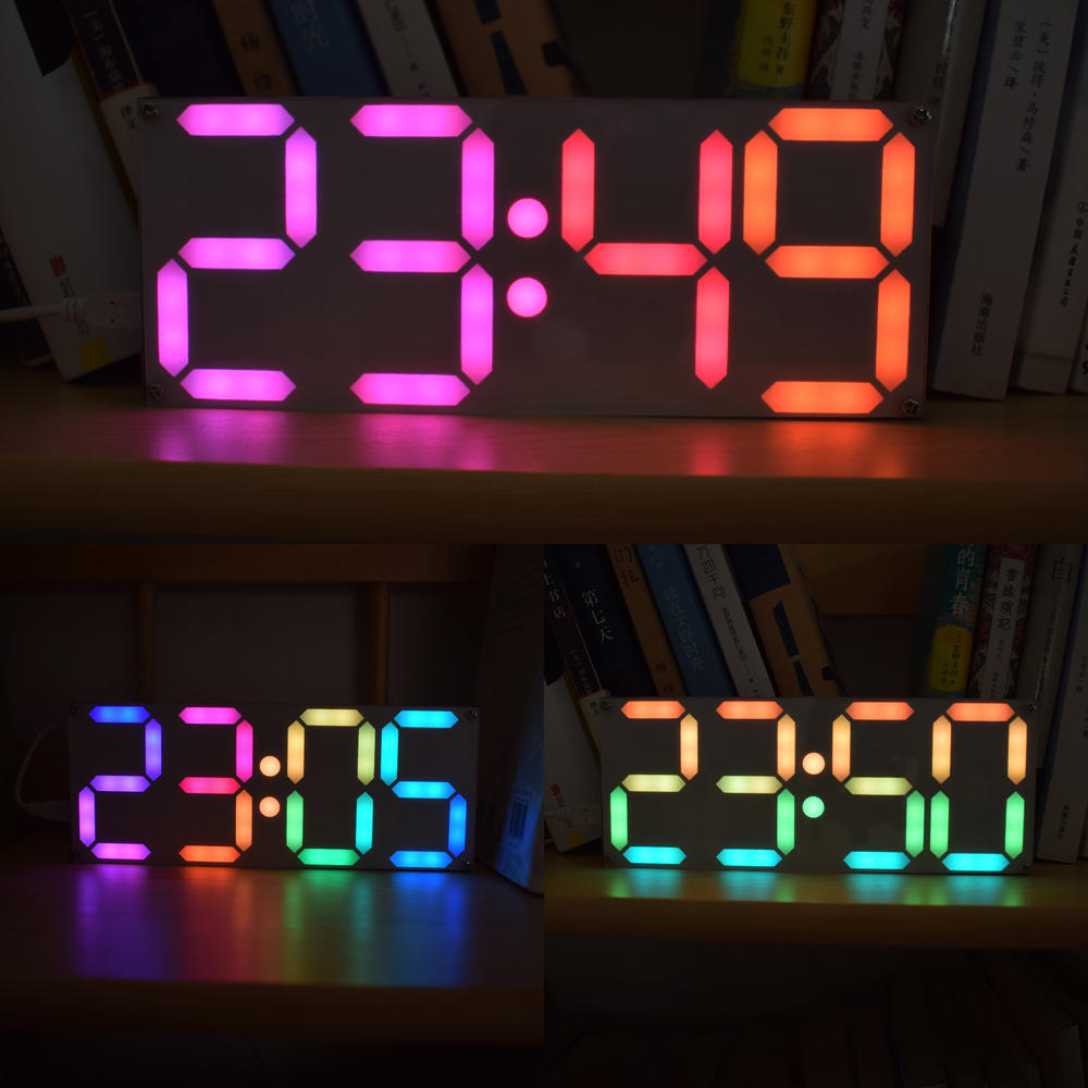 USB DC 5V Large Size Rainbow Color Digital Tube DS3231 Clock DIY Kit include Acrylic Case and USB Power Cable image