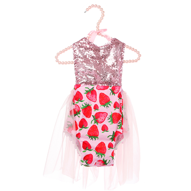 5f0f3aab228f0 Kaiya Angel Hot Newborn Baby Girls Sleeveless Sequin Romper Infant  Strawberry Printing Jumpsuit 2019 Summer Baby Clothing