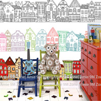 Tuya Art Cartoon Building And House Pencil Drawing Wall Covering Wallpaper For Kid S Room Wall