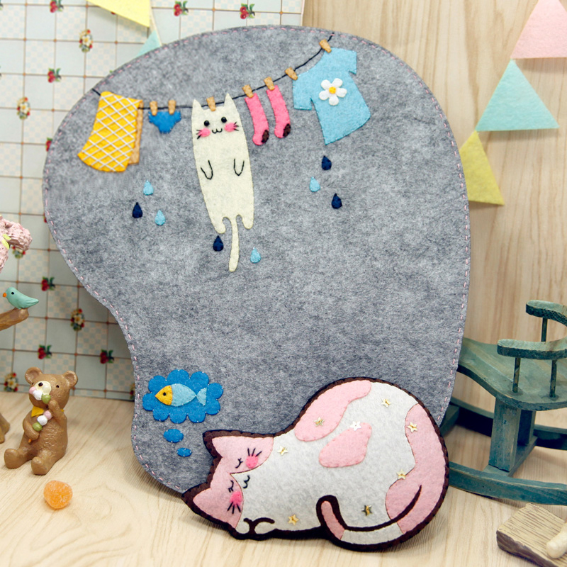 Handmade Felt Mouse Mat Sewing Cloth Art Sewing Protecting Wrist Antiskid Mouse Pad Free Cut Felt DIY Package 21X27CM