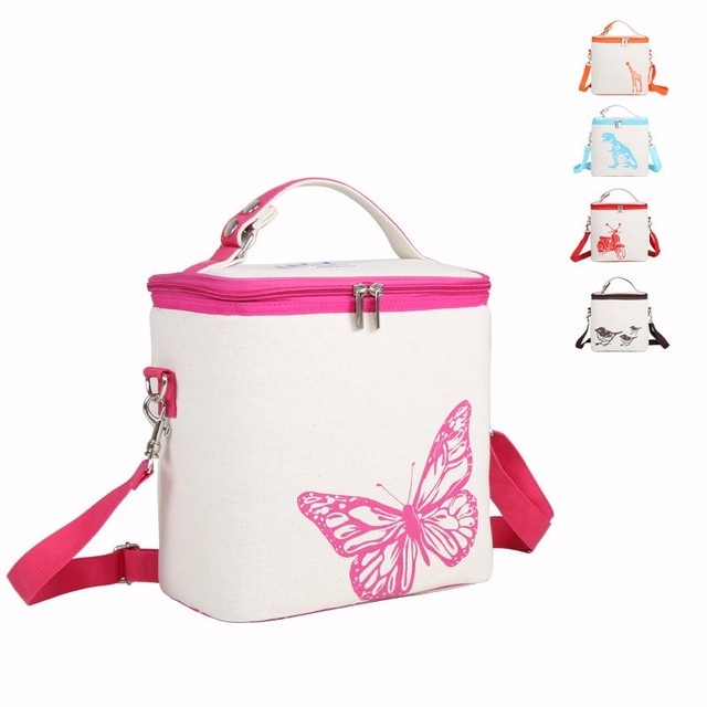 Portable Insulated Canvas lunch Bag Inner Waterproof Canvas Picnic Bag Lunch Box Cooler Food Fruit Storage Case Women Men Kid