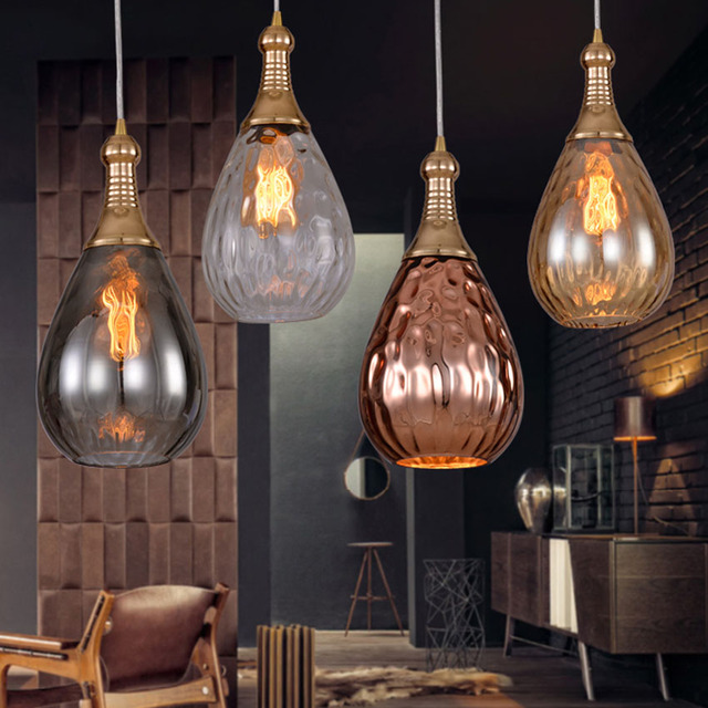 Nordic Water Drops Gl Pendant Lights Gray Amber Copper Color Suspension Lampe Restaurant Cafe Bar Vintage Lighting
