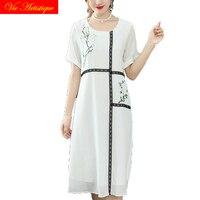 white floral dress women's silk dresses 2018 summer bohemian beach long sundress maxi plus size boho casual loose sexy geometry