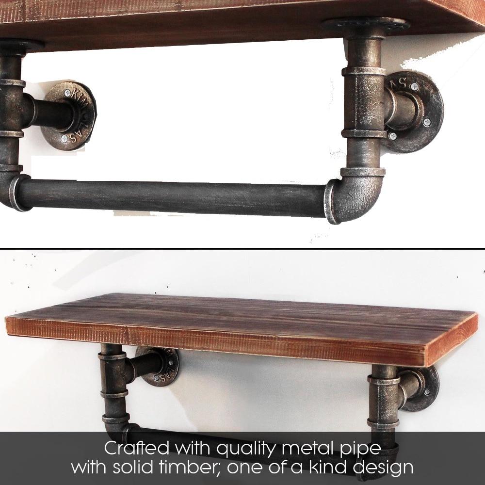 Wall Mounting Type Bathroom Shelf Industrial Style Metal Pipe Wood