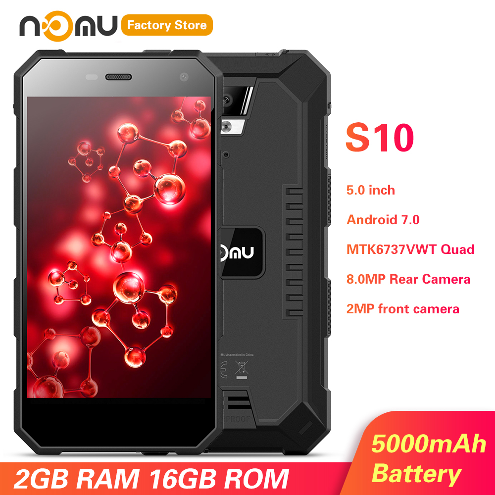 IP68 NOMU S10 4G Smartphone 5.0'' Android 7.0 MTK6737VWT Quad Core 1.5GHz 2GB RAM 16GB ROM 8.0MP Rear Camera 5000mAh Cellphones