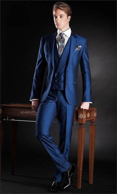 3bece195b2542 Caballero trajes de negocios alta calidad 2015 Royal Blue hombre de los  trajes con pantalones de