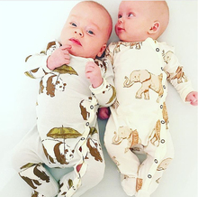 TinyPeople Infant Baby Rompers Thermal 100% Cotton Spring Newborn Boys Girls Clothes Clothing Long Sleeved Jumpsuit
