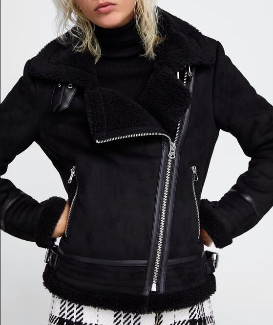 WOMAN BLACK CONTRASTing FAUX   SUEDE   JACKET faux shearling lining lapel collar long sleeves turn-up cuffs zip pockets Faux fur hem