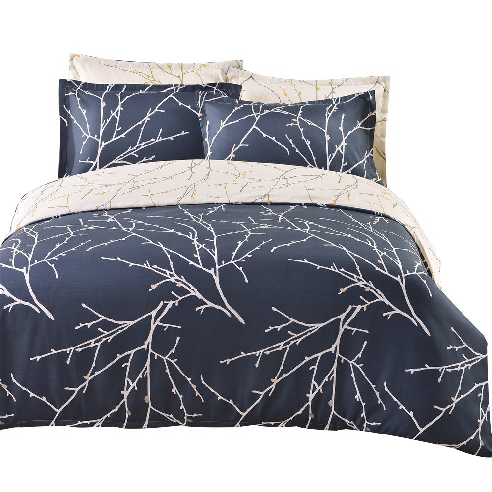 WINLIFE Tree Branches Bedding Microfiber Reversible Bedding Set Boys and Mens Bedding Sets Twin Queen King Size Bed Set