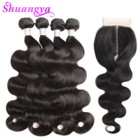 Brazilian Body Wave Hair 100% Human Hair Bundles With Closure Middle Part 3 Bundles With Closure Shuangya Remy Hair Extensions