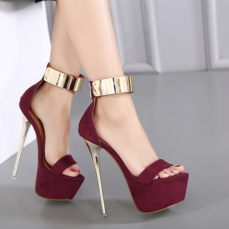 Aneikeh Ankle Strap <font><b>Heels</b></font> <font><b>Platform</b></font> <font><b>Sandals</b></font> Party Shoes For Women Wedding Pumps 16cm <font><b>High</b></font> <font><b>Heels</b></font> Sequined Gladiator <font><b>Sandals</b></font> Black image