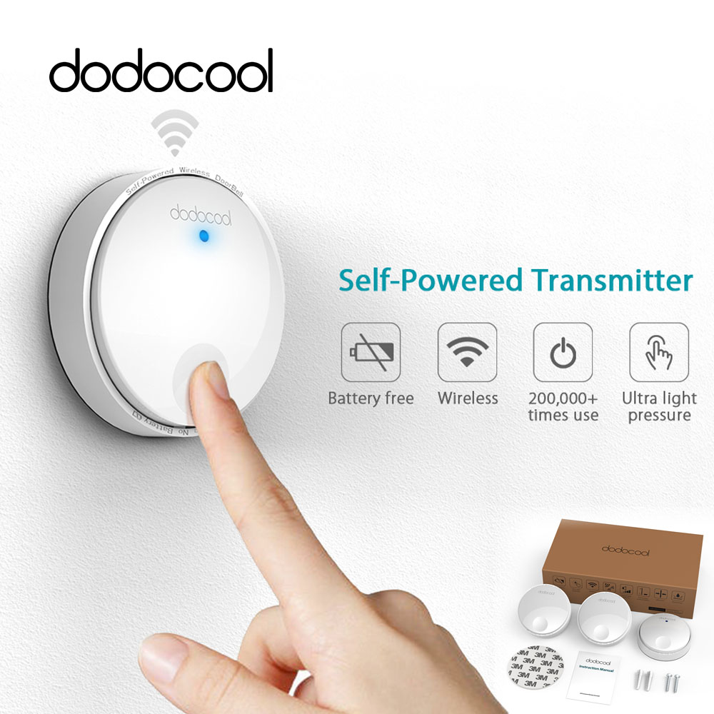 Dodocool-inalámbrico timbre remoto timbre de la puerta timbre No necesita batería IPX7 impermeable 38 Melodie 262ft de la UE /US Plug