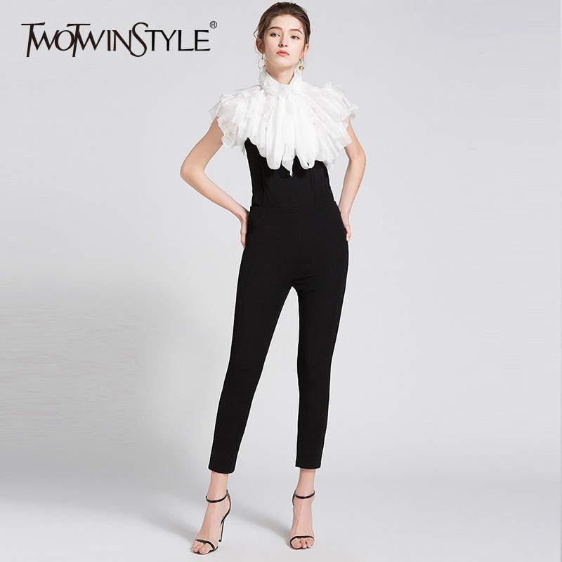TWOTWINSTYLE Basic Jumpsuits For Women High Waist Slim Bodycon Black Long Trousers Large Size Female Spring Summer Tide Clothing