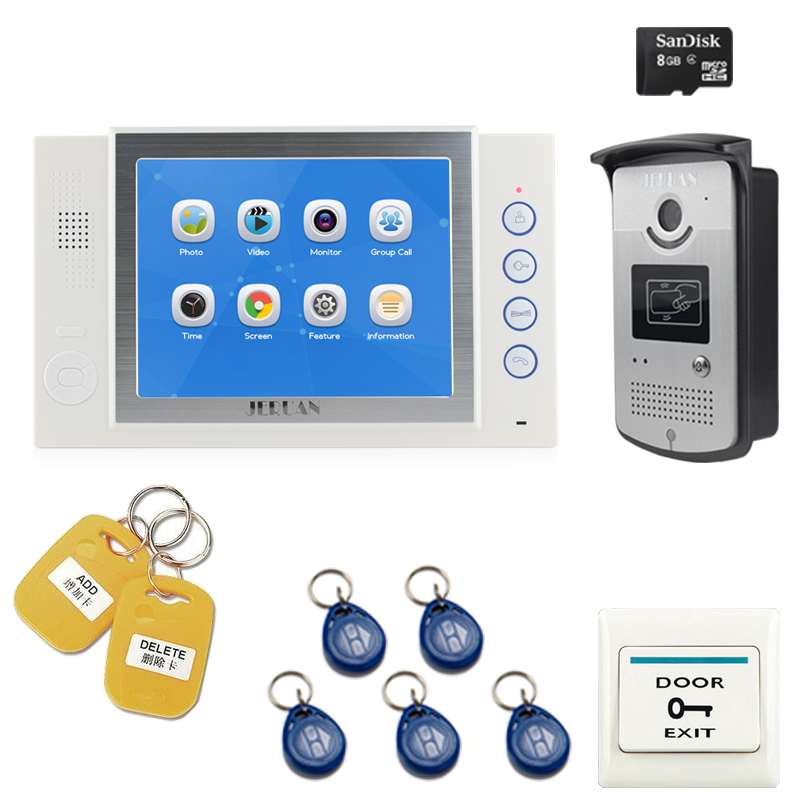 JERUAN New 8 inch LCD Video intercom door phone system kit video recording Monitor 700TVL RFID Access Control Camera 8GB Card jeruan 7 inch lcd monitor 2 sets of 700tvl camera apartment video door phone 4 sets access control home security suite