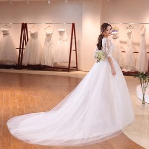 Image 3 - DHL Long Train Half Sleeve Embroidery Lace Wedding Dress 2020 New Arrival Sweep Brush Train Princess bride Gown Vestido De Noiva