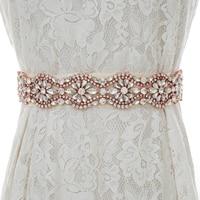 Rose Gold Rhinestones Bridal Belt Handmade Pearls Wedding Belt Crystal Bridal Sash For Wedding Dresses S190RG