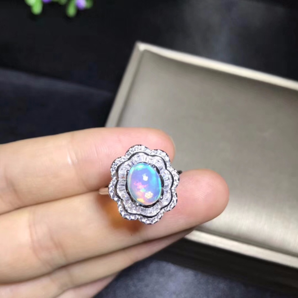 Natural opal woman rings change fire color mysterious  925 silver adjustable sizeNatural opal woman rings change fire color mysterious  925 silver adjustable size