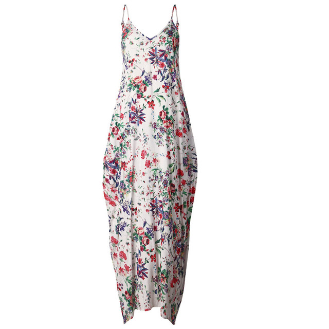 Print Floral Loose Boho Bohemian Beach Dress Women Sexy Strap V-Neck Retro Vintage Long Maxi Dress Summer 2017 Plus Size 3XL
