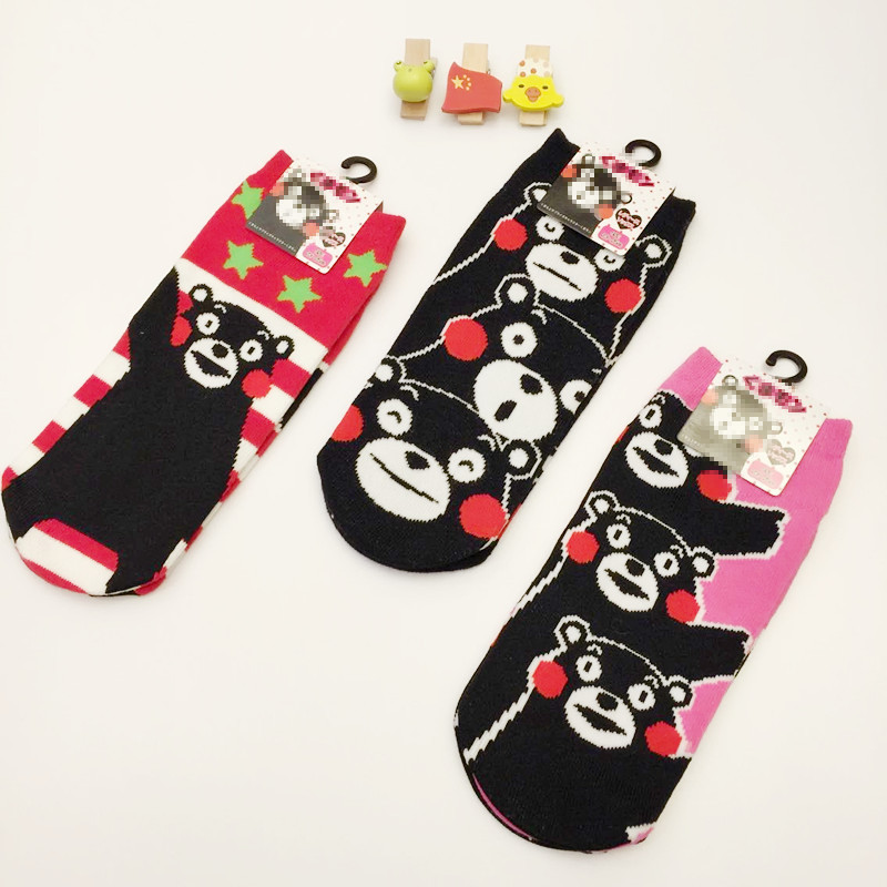 Kumamon Cosplay cotton socks plaid striped cartoon Black bear socks summer casual personality socks funny Unisex girl student