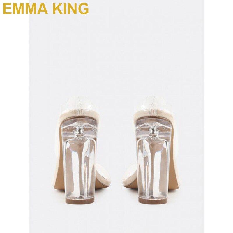Модные женские туфли без задника на прозрачном каблуке с открытым носком; удобные босоножки на не сужающемся книзу массивном каблуке; пикантные женские летние босоножки на высоком каблуке - 4