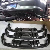 Carbon fiber Car body kit rear bumper lip diffuser for Ford Mustang 15 17