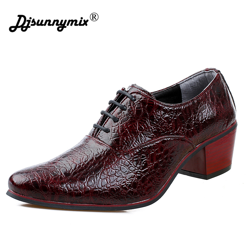 DJSUNNYMIX Brand Mens dress shoes fashion Crocodile pattern leather pointed toe wedding shoes 7cm high heel