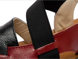 Image 5 - Plus Size Genuine Leather Sandals Women Gladiator Sandals Summer Flat Sandalias Platform Ladies Casual Shoes Zapatos Mujer 2020