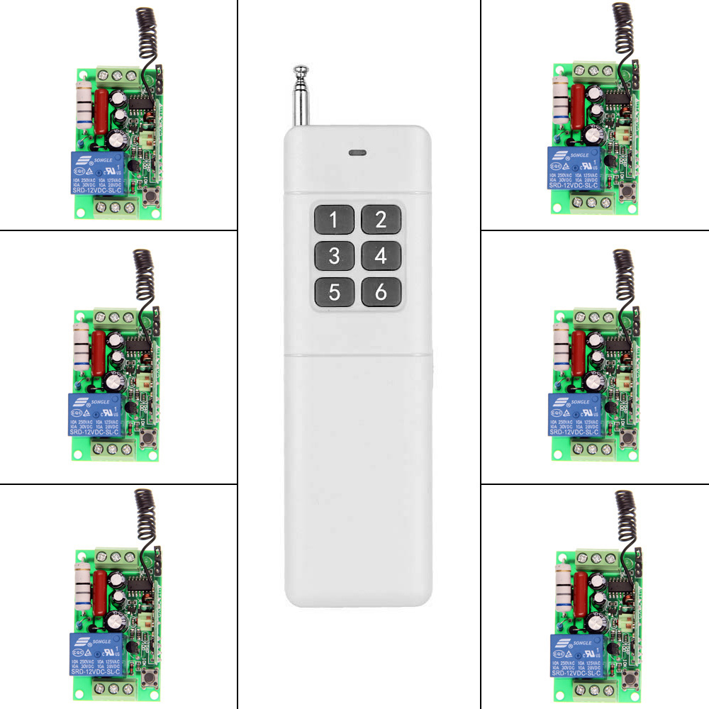 3000m Long Distance AC 220V 110V 1 CH 1CH RF Wireless Remote Control Home Light Switch System, 6CH Transmitter + Receiver ac 220v 110v 1 ch 1ch rf wireless remote control switch system 3 6ch transmitter 6 receiver toggle momentary 315 433 92